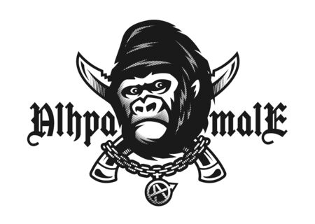 Alpha male. Angry gorilla and crossed knives. Vector illustration. Illustration