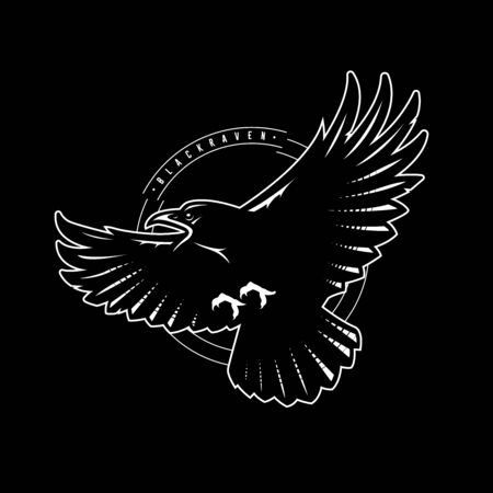 Black raven in flight, logo, emblem on a dark background. Vector illustration. Ilustracja