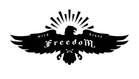 Eagle emblem, symbol of freedom. Vector illustration. Ilustracja