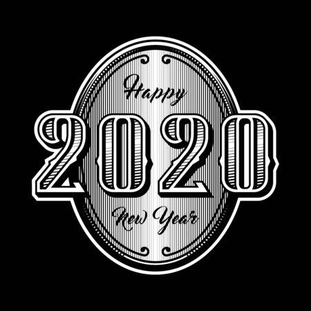 Happy new year 2020. Retro style emblem on a dark background. Vector illustration.