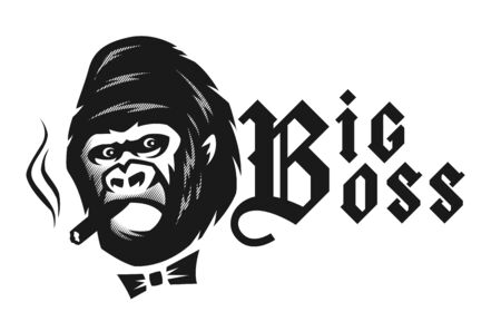 Big boss. Angry gorilla with a cigar. Vector illustration.