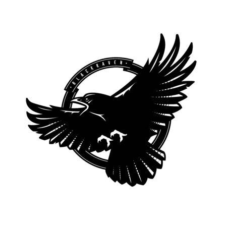 Black raven in flight, logo, emblem. Vector illustration. Ilustracja