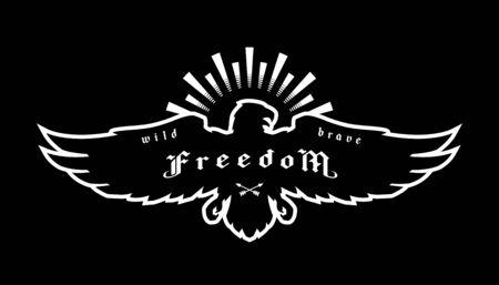 Eagle emblem, symbol of freedom on a dark background. Vector illustration. Ilustracja