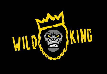 Angry gorilla with a crown. Wild king on a dark background. Vector illustration. Banco de Imagens - 131913546