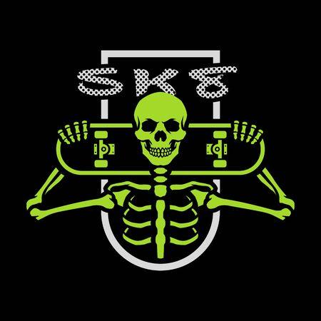 Skater skeleton with a board. Emblem, t-shirt graphics on a dark background. Vector illustration.