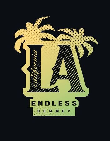 Los Angeles, California typography for t-shirt print on a dark background. Vector illustration.