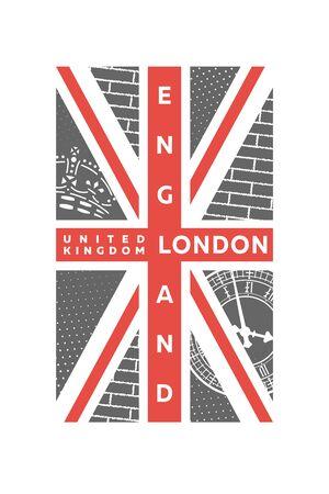 T-shirt Printing design. London, United kingdom flag, banner. Vector illustration. Ilustracja