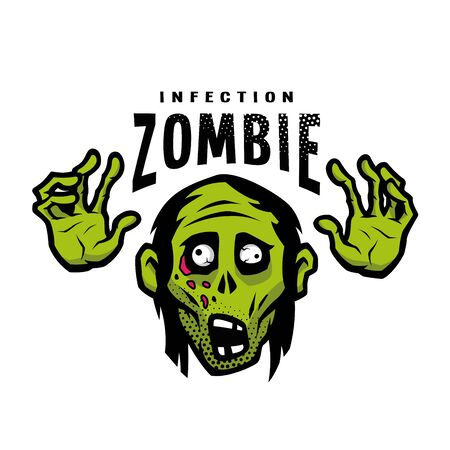 Cartoon green zombie, outbreak infection, emblem. Vector illustration.