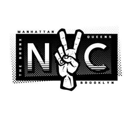 T-shirt Printing design. NYC emblem. New York, Manhattan, Brooklyn, Queens the Bronx Ilustracja
