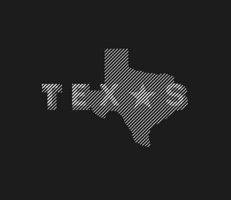 Texas State logo, emblem, t-shirt design on a dark background. Vector illustration. Ilustracja