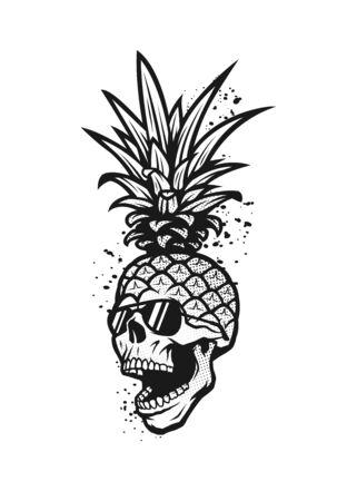 Pineapple skull in a sunglasses, tee shirt graphics. Vector illustration.
