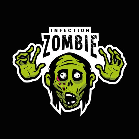 Cartoon green zombie, outbreak infection, emblem on a dark background. Vector illustration. Ilustracja