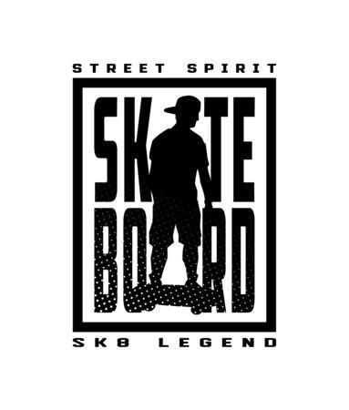 Skateboard street style, t-shirt design Vector illustration.
