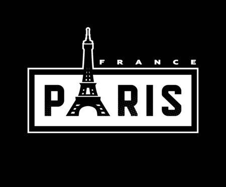 Paris, France T-shirt print design on a dark background. Vector illustration.