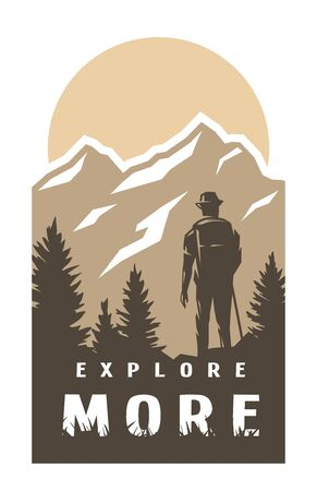 Explore more. Traveler on the background of wildlife. Vector illustration. Ilustracja