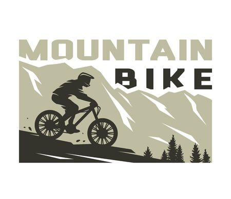 Mountain bike. Silhouette of a cyclist on a background of mountains. Vector illustration. Çizim