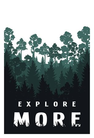 Explore more against the background of the silhouette of trees, nature. Vector illustration. Ilustracja