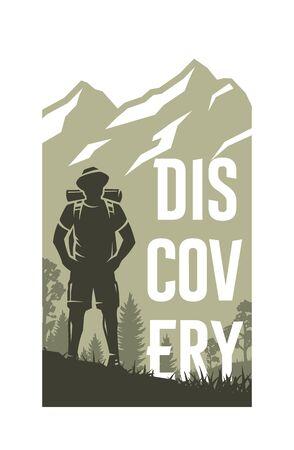 Traveler on the background of nature. Travel emblem, banner. Vector illustration.