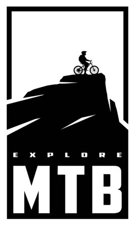 MTB explore. Mountain bike banner, t-shirt print design. Vector illustration.