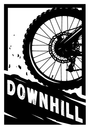 Downhill, Mountain bike banner, t-shirt print design. Vector illustration.