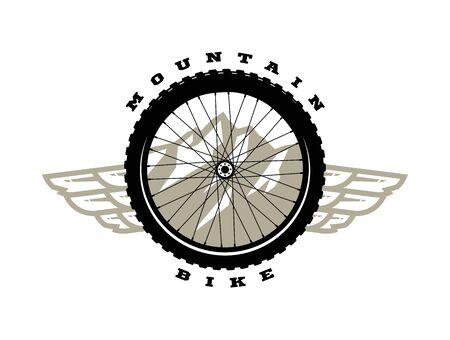 Bicycle wheel. Mountain bike logo, t-shirt print design. Vector illustration.