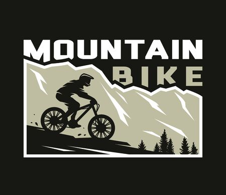 Mountain bike. Silhouette of a cyclist on a background of mountains on a dark background. Vector illustration.