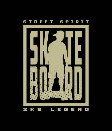 Skateboard street style, t-shirt design on a dark background. Vector illustration.