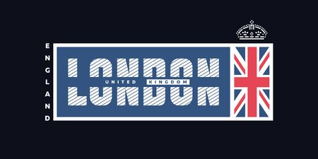 London , United Kingdom T-shirt Printing design on a dark background. Vector illustration. Ilustracja