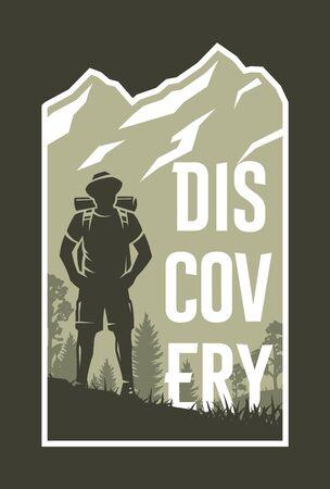 Traveler on the background of nature. Travel emblem, banner on a dark background. Vector illustration.