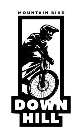 Mountain bike, downhill. Banner, t-shirt print design. Vector illustration.