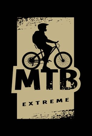 MTB extreme and cyclist silhouette. Banner, t-shirt print design on a dark background. Vector illustration.