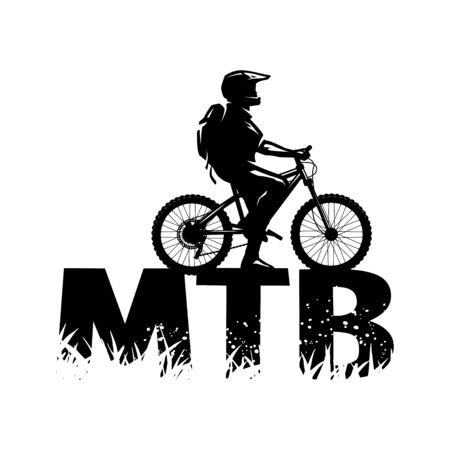 Silhouette of a cyclist on and the MTB letters. Vector illustration. Çizim