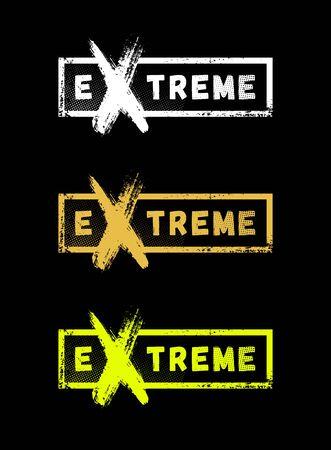 Extreme sport logo, emblem in grunge style on a dark background. Vector illustration. Ilustração