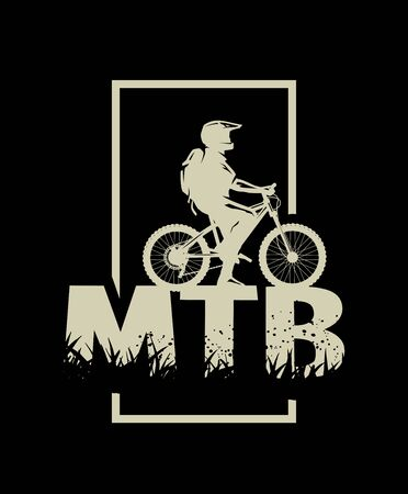Silhouette of a cyclist on and the MTB letters on a dark background. Vector illustration. Ilustração