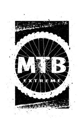 MTB extreme on the background of the wheel. Banner, t-shirt print design. Vector illustration. Ilustração