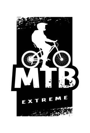 MTB extreme and cyclist silhouette. Banner, t-shirt print design. Vector illustration. Ilustração