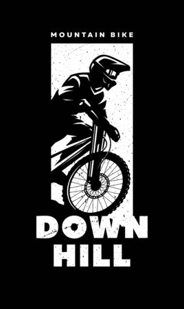 Mountain bike, downhill. Banner, t-shirt print design on a dark background. Vector illustration.