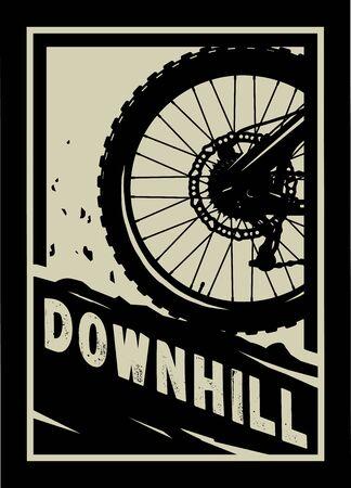 Downhill, Mountain bike banner, t-shirt print design on a dark background. Vector illustration.