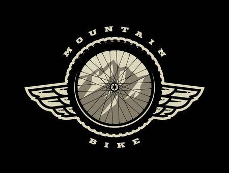 Bicycle wheel. Mountain bike logo, t-shirt print design on a dark background. Vector illustration.