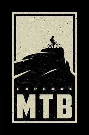 MTB explore. Mountain bike banner, t-shirt print design on a dark background. Vector illustration.