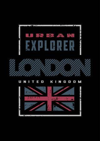 London, grange style, t-shirt print design on a dark background. Vector illustration.