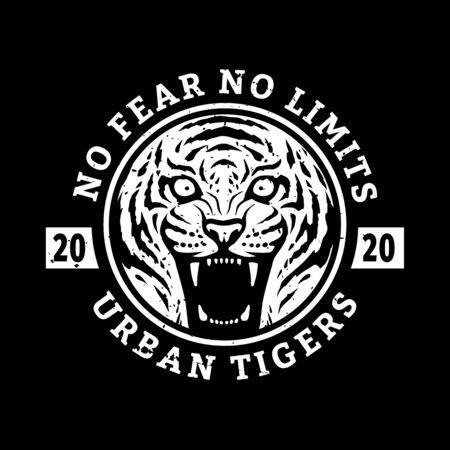 No fears, no limits. Tiger t-shirt design on a dark background. Vector illustration. Ilustração