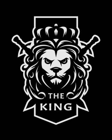 Lion king symbol, logo, emblem on a dark background. Vector illustration. Ilustração