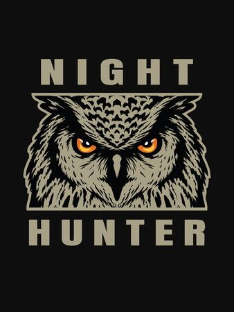 Night hunter, owl head T-shirt print design on a dark background.