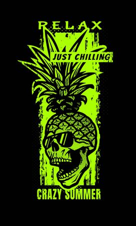 Pineapple skull, tee shirt graphics on a dark background. Vector illustration.