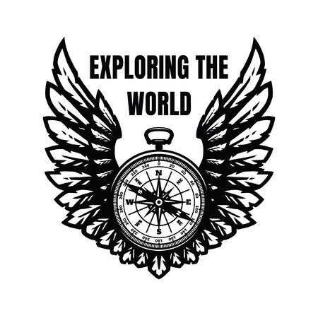 Explorando el mundo. Brújula y alas, signo, símbolo. Ilustración de vector.