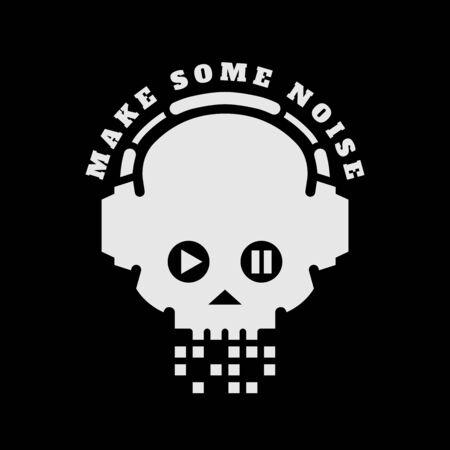 Skull in headphones, make some noise on a dark background. Sign, logo. Vector illustration. Ilustrace