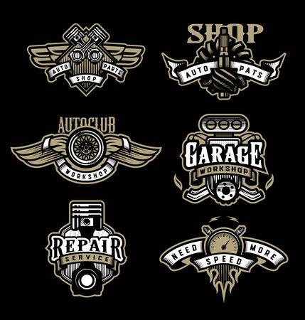 Set of vintage monochrome auto emblems, badges, logos on a dark background.