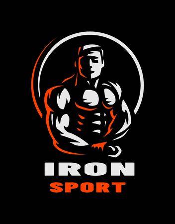 Iron sport. Bodybuilding. Athlete silhouette logo, emblem on a dark background. Vector illustration. Ilustração