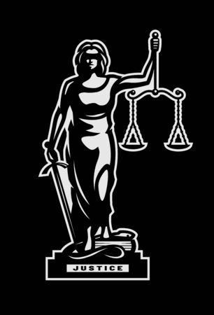 Die Göttin der Gerechtigkeit Themis Symbol, Logo auf dunklem Hintergrund. Vektor-Illustration. Logo